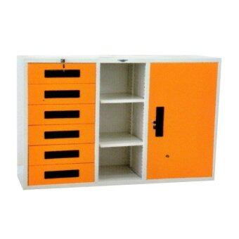DAXTON ตู้เก็บเอกสาร สีส้ม ครีมมุุก รุ่น 1B6L - A - Orange Cream