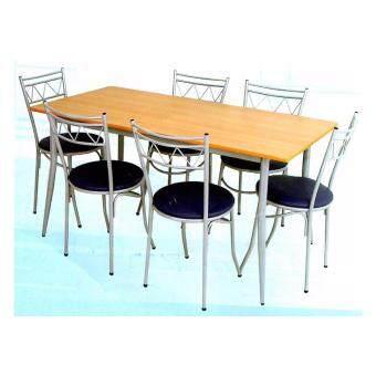 Asia ชุดโต๊ะกินข้าวไม้ยางพารา 5 ฟุต + เก้าอี้เบาะ 6ตัว รุ่นบัดดี้