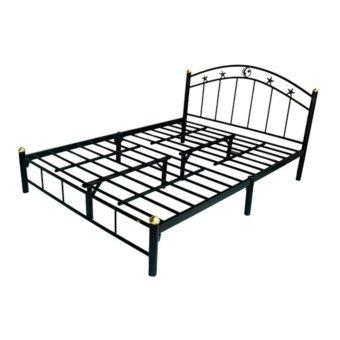 ISO เตียงเหล็ก ขนาด 6 ฟุต รุ่น STAR ขา2นิ้ว (สีดำ)