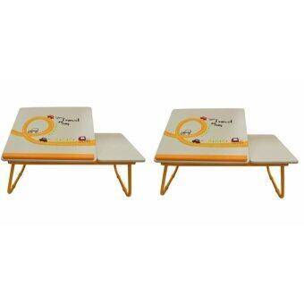 โต๊ะเอนกประสงค์ โต๊ะทำการบ้าน โต๊ะอ่านหนังสือ ลายรถยนต์ สำหรับเด็ก (สีครีม) 2 ตัว