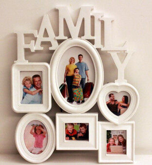 Harga Family Combination 6 Boxes Frame Photo Wall Hanging(White)