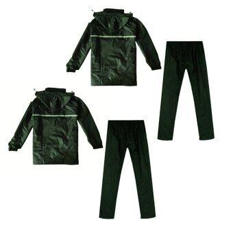 ชุดกันฝน มีแถบสะท้อนแสง เสื้อคลุม + กางเกง ขนาดฟรีไซส์ (สีเขียวเข้ม) x 2