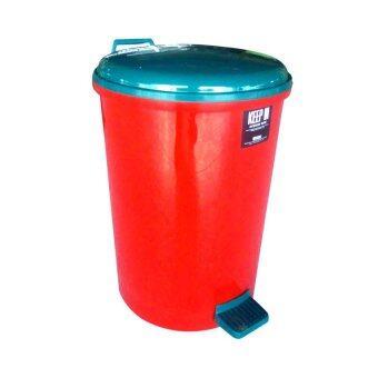 Thai Style ถังขยะแบบเหยียบทรงกลม 35 ลิตร (สีแดง/เขียว)