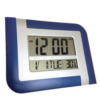 GooAB Shop นาฬิกาแขวนผนัง ดิจิตอล จอLCD ขนาด 9 นิ้ว (สีฟ้า) + ถ่านAA 2 ก้อน