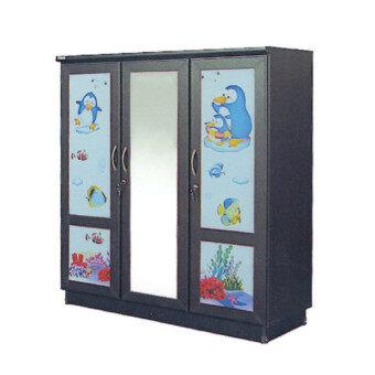 RF Furniture ตู้เสื้อผ้าเด็ก 120 cm 3ประตูกระจกกลาง รุ่น WR120MG ( สีโอ๊คลายการ์ตูนน่ารัก )