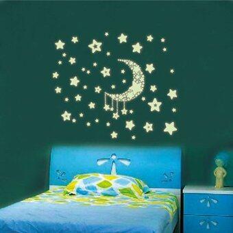 ดวงจันทร์ดวงดาวภาพเรืองแสงในที่มืดทำงานกลับบ้านนอนชีวิตสติกเกอร์ติดผนังการตกแต่งห้อง
