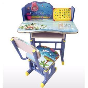 Asia ชุดโต๊ะนักเรียน+เก้าอี้ ปรับระดับได้ ลายการ์ตูน สีฟ้า