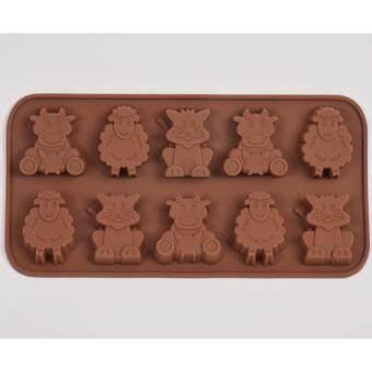 แม่พิมพ์ซิลิโคน สามสหายในฟาร์ม, แมว วัว แกะ พิมพ์วุ้น ทำน้ำแข็ง ทำ chocolate food grade