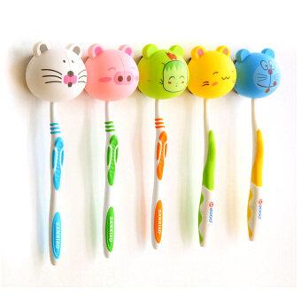 ilovebaby 5ชิ้นแปรงสีฟันเด็กแปรงฟันสัตว์การ์ตูนคลิปสุ่มเก็บสีน้ำพลาสติก