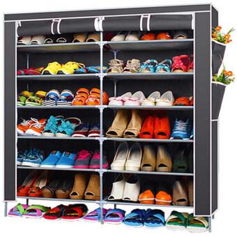Hakone ชั้นวางรองเท้า ตู้เก็บรองเท้า ตู้ใส่รองเท้า 6 ชั้น จำนวน 42 คู่ ผ้าคลุม non woven กันน้ำ (สีเทา)