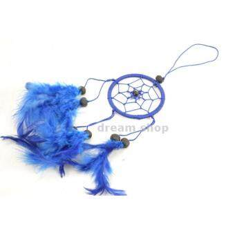 แฮนด์เมดตาข่ายดักฝันสีน้ำเงินทำจากขนนกแท้