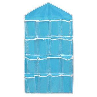 Gracefulvara 16 เหนือประตูห้อยกระเป๋ากระเป๋ารองเท้าให้ชั้นเก็บไม้แขวนเสื้อเรียบร้อยออแกไนเซอร์-สีน้ำเงิน