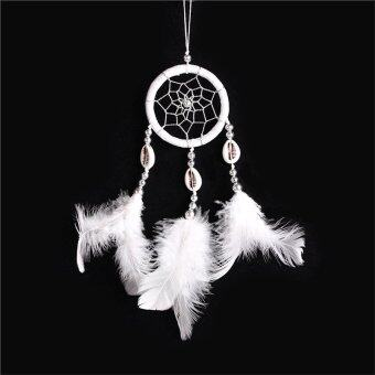 Harga Handmade Feather and Bead Decorated Wall Hanging Wind Chime Dream Catcher (White)
