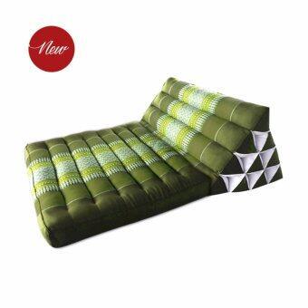 Asia หมอนอิงพร้อมเบาะนอน หมอนสามเหลี่ยม 10 ช่อง 1 พับ สีเขียว ขนาด 76x53x28cm.