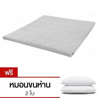 CB Cotton Topper เบาะรองนอนขนแกะเทียมจากญี่ปุ่น กันไรฝุ่นและเชื้อรา ขนาด 5 ฟุต รุ่นTopper (สีขาว) แถม หมอนห่านเทียม 2 ใบ