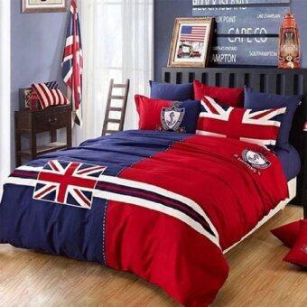 Array Shop ชุดผ้าปูที่นอน6ฟุต พร้อมผ้านวม5ชิ้น ลายธงชาติอังกฤษ(สีน้ำเงิน/แดง)