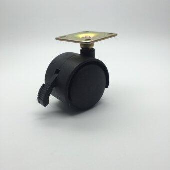 CVN ลูกล้อทรงแบนโต๊ะคอมพิวเตอร์ โต๊ะทำงาน ขนาด 1.5 นิ้ว แป้นหมุน ขนาด 39x39 มม เบรค / 1ลูก (สีดำ)
