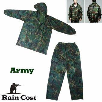 ชุดกันฝน เสื้อกันฝน มีแถบสะท้อนแสง (เสื้อแบบมีฮูท+กางเกง+กระเป๋าใส่)