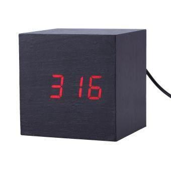 นาฬิกา นาฬิกาตั้งโต๊ะนาฬิกาดิจิตอลLEDผิวไม้ทำงานผ่านUSB/ถ่าน