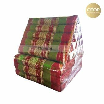 Chanathai ที่นอนนุ่น หมอนอิงพร้อมเบาะนอน หมอนสามเหลี่ยม 15 ช่อง 3 พับ ขนาด 190x55x42 cm. (สีเขียว/แดง)