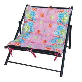 Grace Shop เตียงนอนพักผ่อน โครงเหล็ก นอนคู้ รุ่น นอนนั่งพับได้ ผ้าลาย (สีผ้าลายสีชมพู)