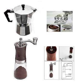 sayrung9shop หม้อต้มกาแฟสด 6 cupและที่บดกาแฟมือหมุน สีเงิน