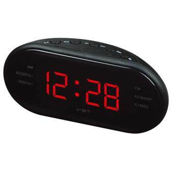 Harga Portable LED Alarm Clock Radio Digital AM/FM Radio Red With EU Plug - intl