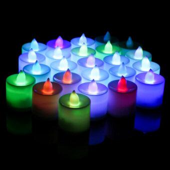 24ชิ้นงานไฟชาร์จเปลวสีชาบ้านเทียนหอม
