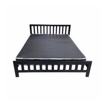 DAXTON Lofts เตียงเหล็กกล่องพร้อมที่นอนสปริง PVC ขนาด 5 ฟุตหนา 8 นิ้ว รุ่น Lofts 5 สปริง(สีดำ)