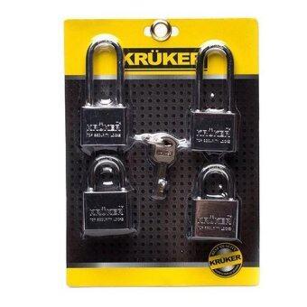KRUKER ชุดกุญแจ 4 ชุด 40 มิลลิเมตร ระบบลูกปืน พร้อมลูกกุญแจ 4 ดอก ต่อ 1 แม่กุญแจ