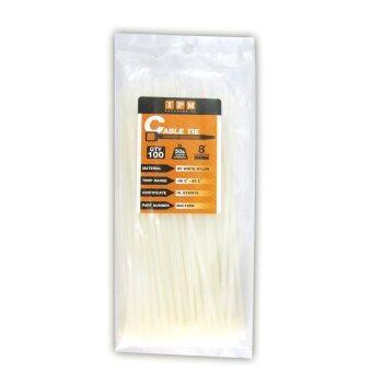 IPM Nylon Cable Tie ยาว8นิ้ว แพ็คถุง100เส้น สีขาว