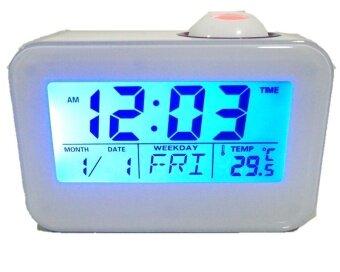 GooAB Shop นาฬิกาปลุก ตั้งโต๊ะ พูดได้ พร้อมโปรเจกเตอร์ - สีขาว + ถ่านAAA 3 ก้อน