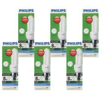 Philips Essential แพ๊คหลอดประหยัด รูปตะเกียบ 8W E27 แสง DL x 6 ดวง