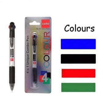 CELLO ปากกาลูกลื่น 4 สี ในด้ามเดียว (สีน้ำเงิน สีแดง สีเขียว สีดำ) 4 Color Pen Ball Point 4 in 1 Multicolor Red Green Black Blue