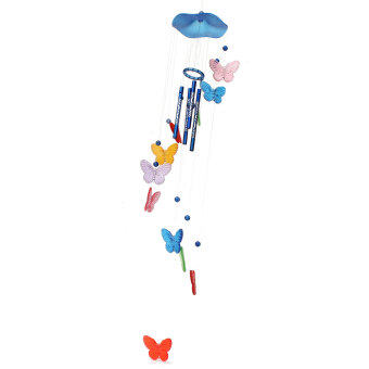 Harga Butterfly Mobile Wind Chime Bell Garden Ornament Gift Hanging Living Door Decor colorful blue