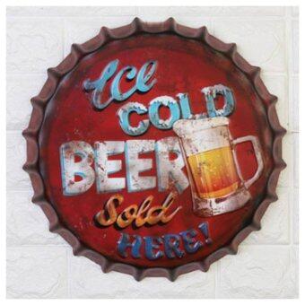 ป้ายฝาเบียร์ สำหรับแขวนตกแต่งผนัง ตกแต่งบ้านหรือร้านค้า แนววินเทจ ขนาด5x42cm H028