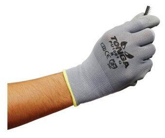 TONGA ถุงมือไนล่อนเคลือบพียู TG1001G สีเทา ขนาด เล็ก (12 คู่/แพ็ค)