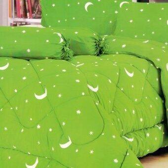 FD Premium ผ้าปูที่นอน ขนาด 6ฟุต 5 ชื้น รุ่น 6AA238 ลายดาว (สี เขียวอ่อน)