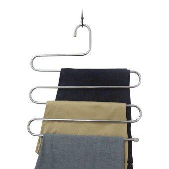 HS เสื้อผ้าหิ้ง กางเกงหิ้ง Multi-Purpose 5 Layers Pants Hanger Trousers Tie Towels Belt Rack Space Saving 2PC - Silvery