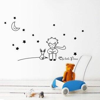 ดวงจันทร์ดวงน้อย Prince ไวนิลสติกเกอร์ติดผนังบ้านศิลปะเด็กการตกแต่งผนังสติ๊กเกอร์ (สี: สีดำ)