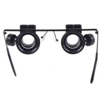 แว่นตาชนิด 20 x แว่นขยายที่มี 2 x ไฟ led เหมาะสำหรับซ่อมอิเล็กทรอนิกส์ (สีดำ)