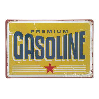 MonkeyAct ป้ายสังกะสีวินเทจ Premium Gasoline