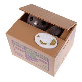 แมวขโมยกระปุกออมสินงกเงินเหรียญของเล่นของขวัญกล่องอัตโนมัติ (สีเทา)