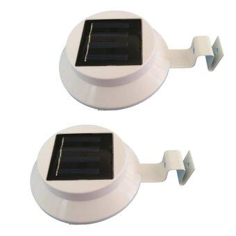 โคมไฟโซล่าเซลล์แบบกลม 3 LED (LED ขนาดใหญ่)X 2 ชิ้น แสงสีขาว รุ่น 3LED