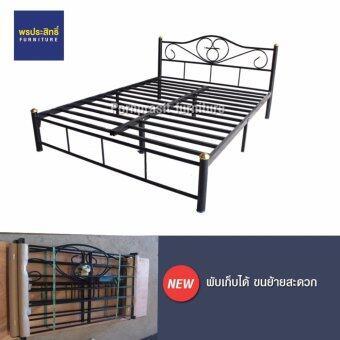 Asia เตียงเหล็กหนาพิเศษ ขนาด 5 ฟุต ขา2นิ้ว รุ่นพับเก็บได้ สีดำ
