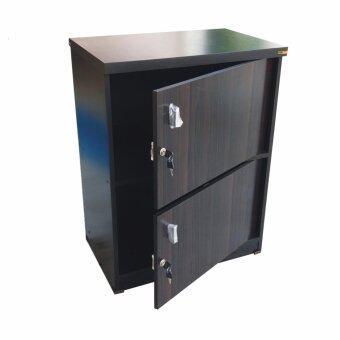 Grace Shop ตู้ล๊อกเกอร์ ตู้เก็บของ ชั้นไม้เอนกปรนะสงค์ 2 ชั้น พร้อมบาเปิดปิดมีกุญแจ รุ่น Locker cabinet (สีลายไม้โอ๊ด/ดำ)