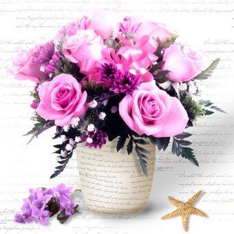 จิตรกรรมประดับเพชรตกแต่งผนังรูปกระถางดอกไม้สีม่วง 5D