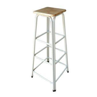 Richer เก้าอี้สตูลขาคู่ สูง48นิ้ว ( สีขาว-ท้อปไม้ยางพารา )