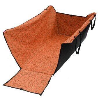 Pet Car Seat แผ่นรองกันเปื้อนในรถยนต์ แบบคลุมเต็มเบาะหลัง กันเปื้อนได้รอบทิศทั้ง 4 ด้าน สำหรับสุนัข (สีส้ม ลายมิกกี้)