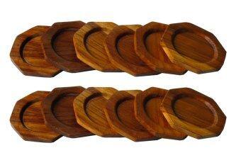 จานรองแก้ว ผลิตจากไม้สัก ลายไม้สัก สวยงาม จำนวน 12 ชิ้น ทรง 8 เหลี่ยม